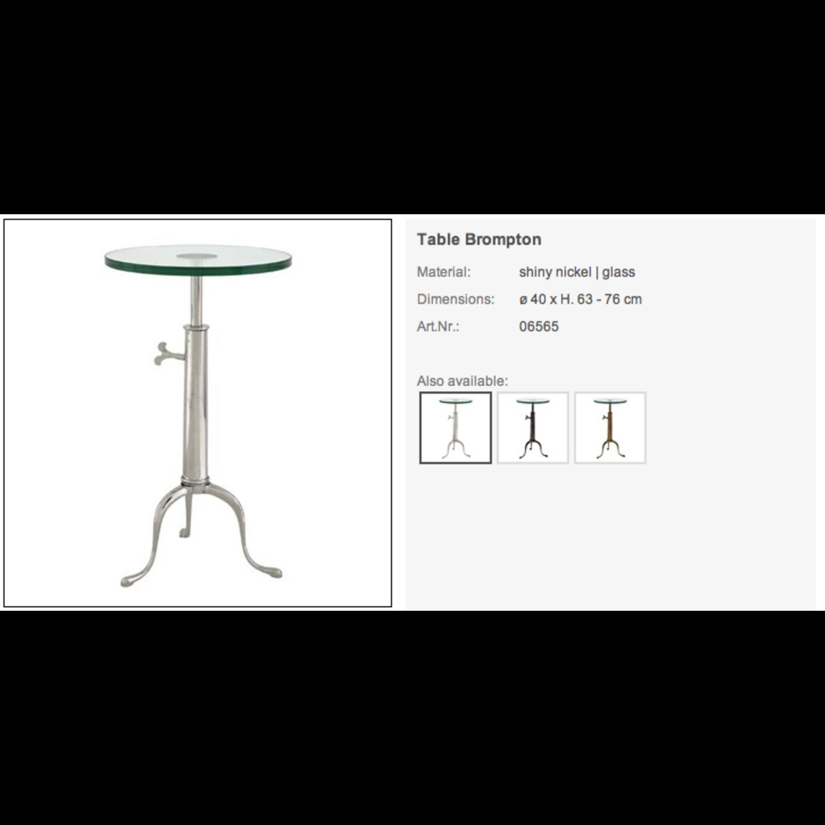 EICHHOLTZ TABLE BROMPTON SHINY NICKEL/GLASS