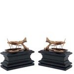 EICHHOLTZ Bookend Hydroplane br ant/bl wd S/2