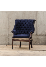 VAN THIEL FIRE SIDE WING CHAIR/ MARINE DECONSTRUCTED/ BRASS NAIL