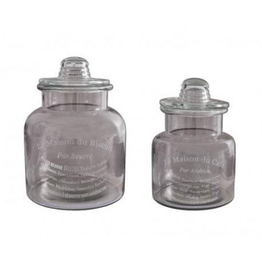 ANTIC LINE Set 2 glass jars with Biscuit lid