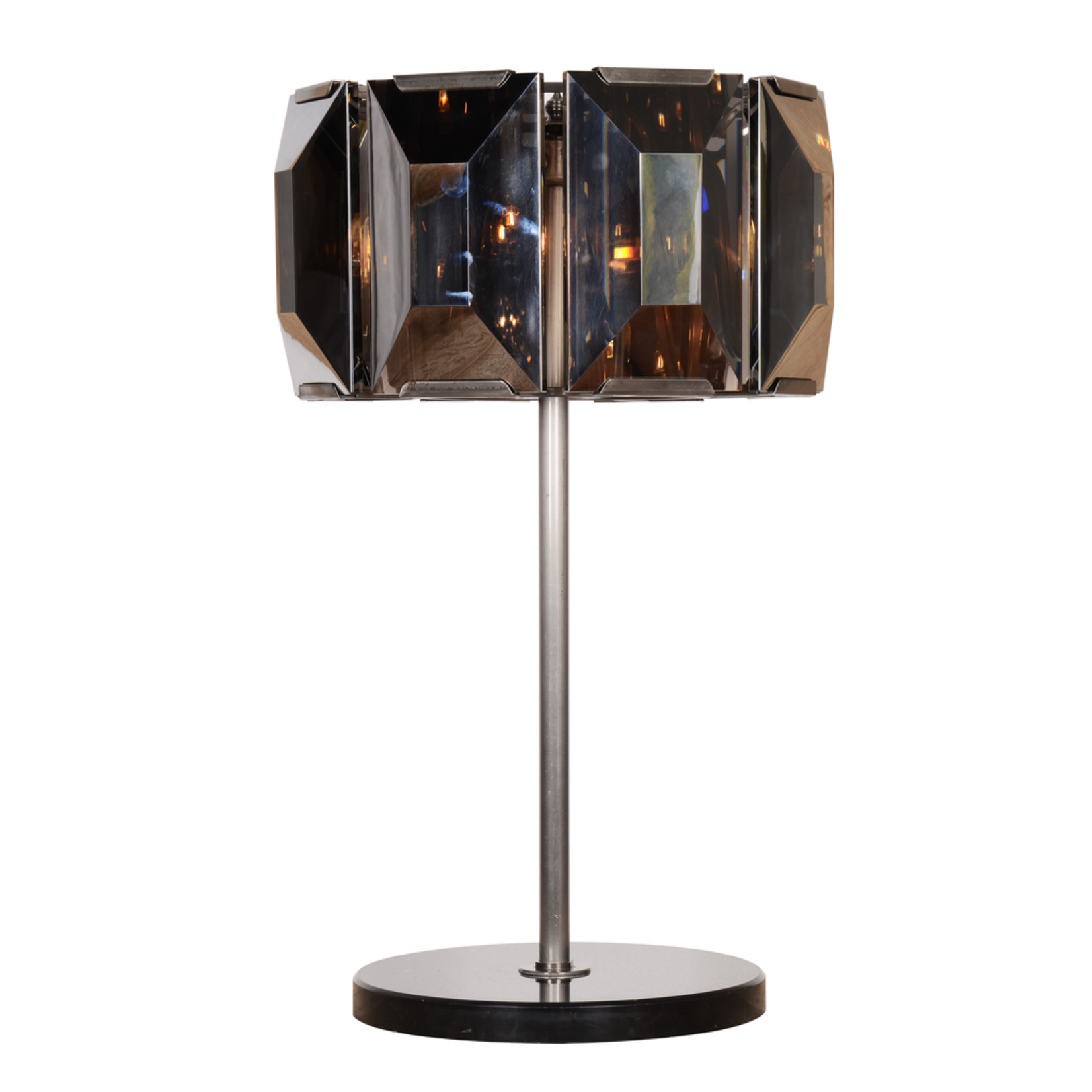 TIMOTHY OULTON FACET CRYSTAL TABLE LAMP WITH DIMER-GREY