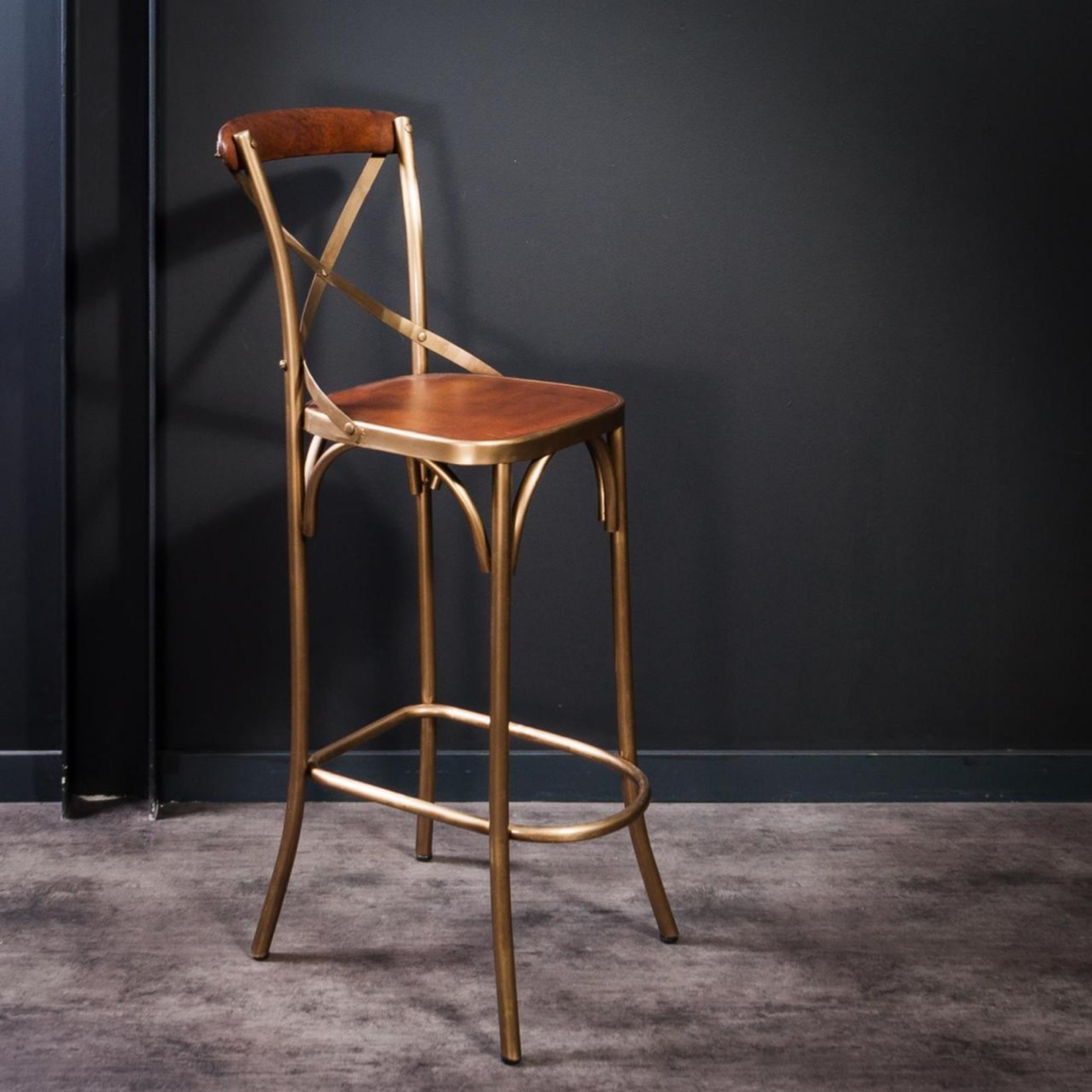 OBJET DE CURIOSITE IRON AND LEATHER BISTROT HIGH CHAIR