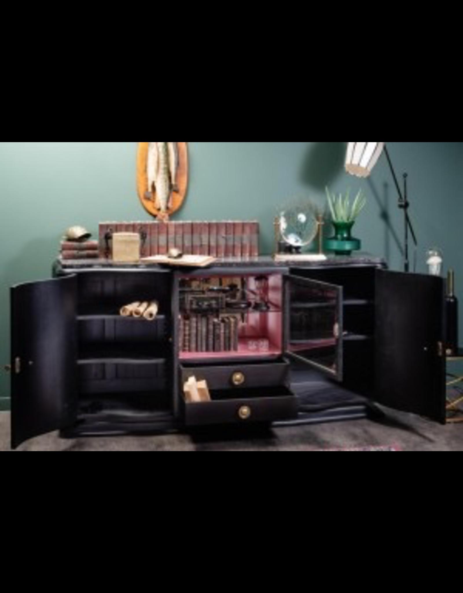 OBJET DE CURIOSITE REAL ANTIQUE SIDEBOARD 40'S -PINK AND MATTE BLACK FINISH