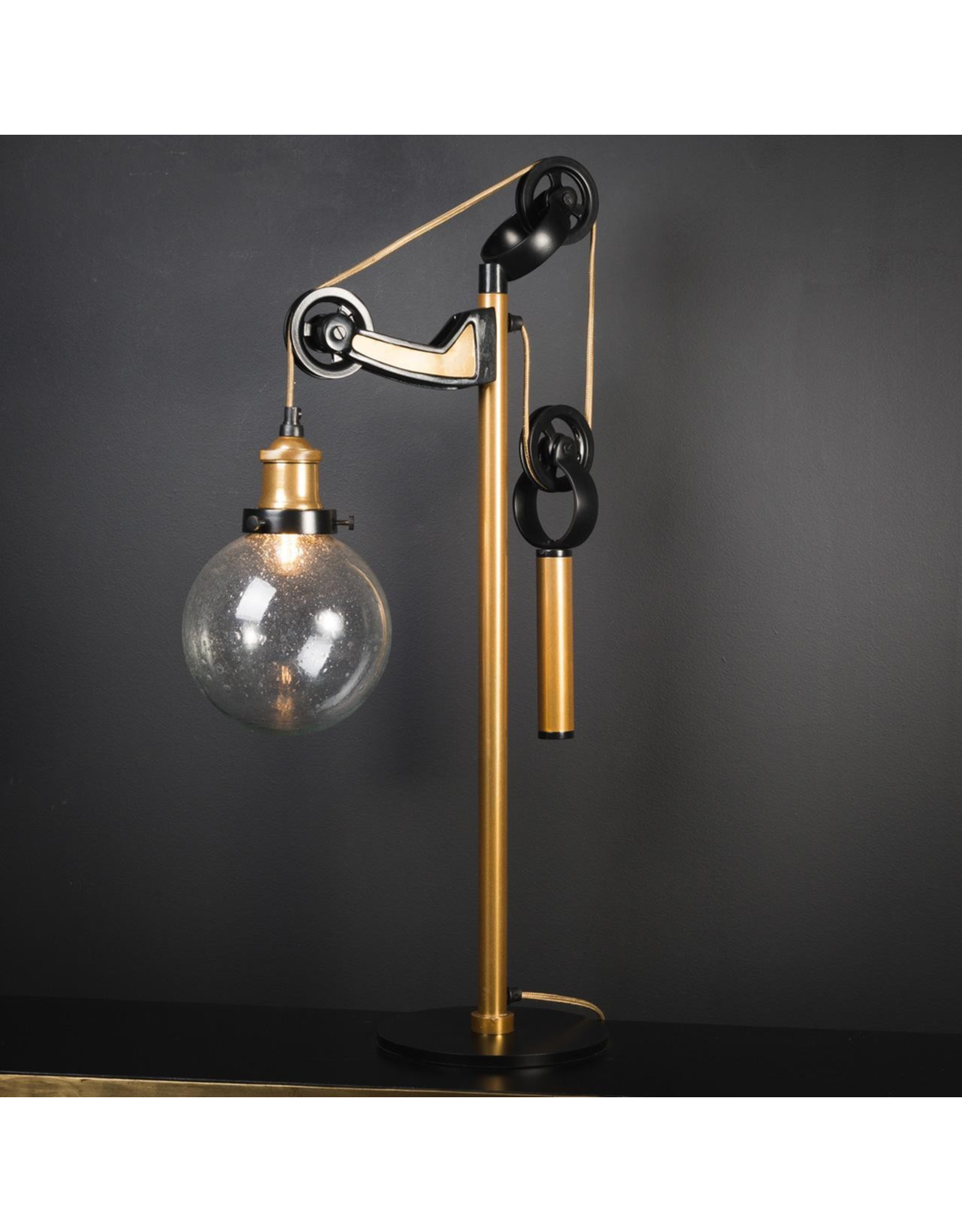 OBJET DE CURIOSITE DESK LAMP WITH COUNTERWEIGHT, BRASS AND BLACK