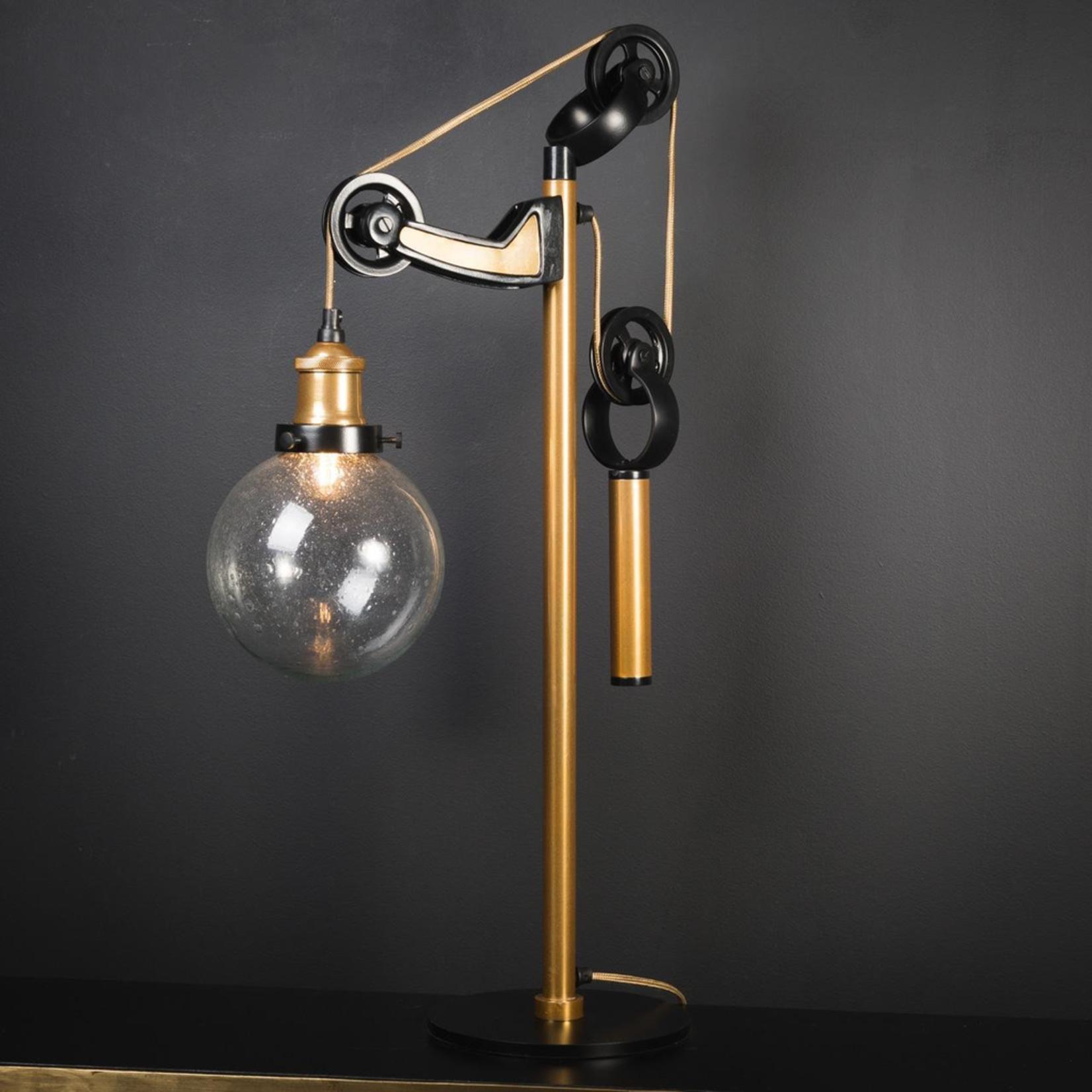 OBJET DE CURIOSITE DESK LAMP WITH COUNTERWEIGHT, BRASS AND BLACK