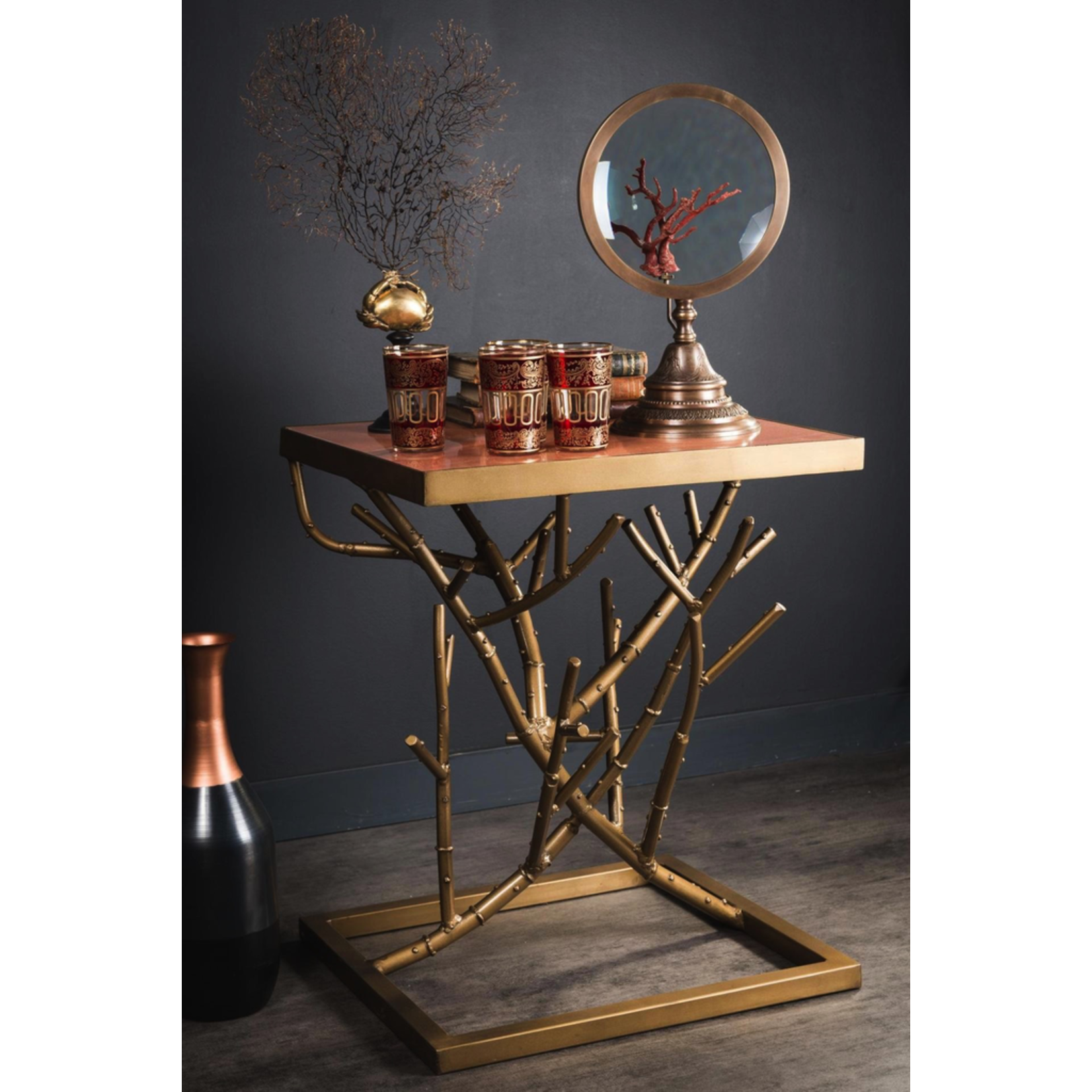 OBJET DE CURIOSITE SIDE TABLE PINK MARBLE TOP ON VEGETABLE IRON