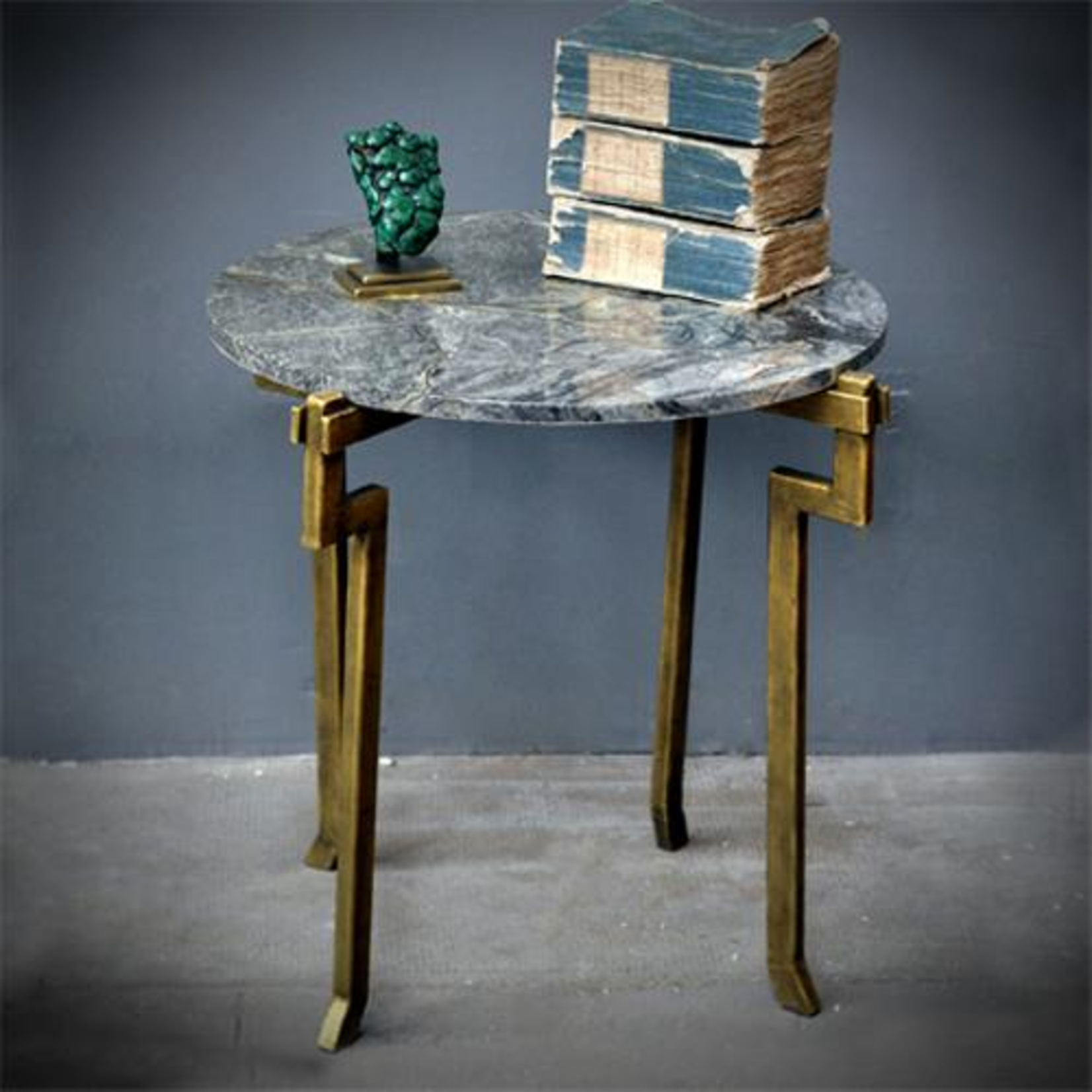 OBJET DE CURIOSITE  GREEN MARBLE TOP & GOLDEN IRON BADE TABLE
