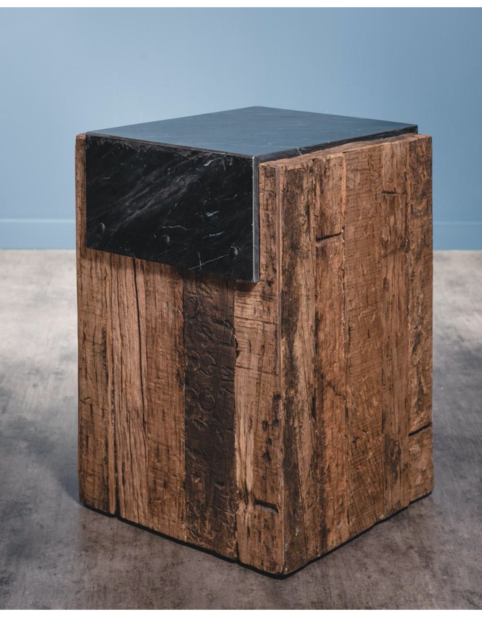 OBJET DE CURIOSITE RAILWAY SLEEPERS AND BLACK MARBLE, SIDE TABLE