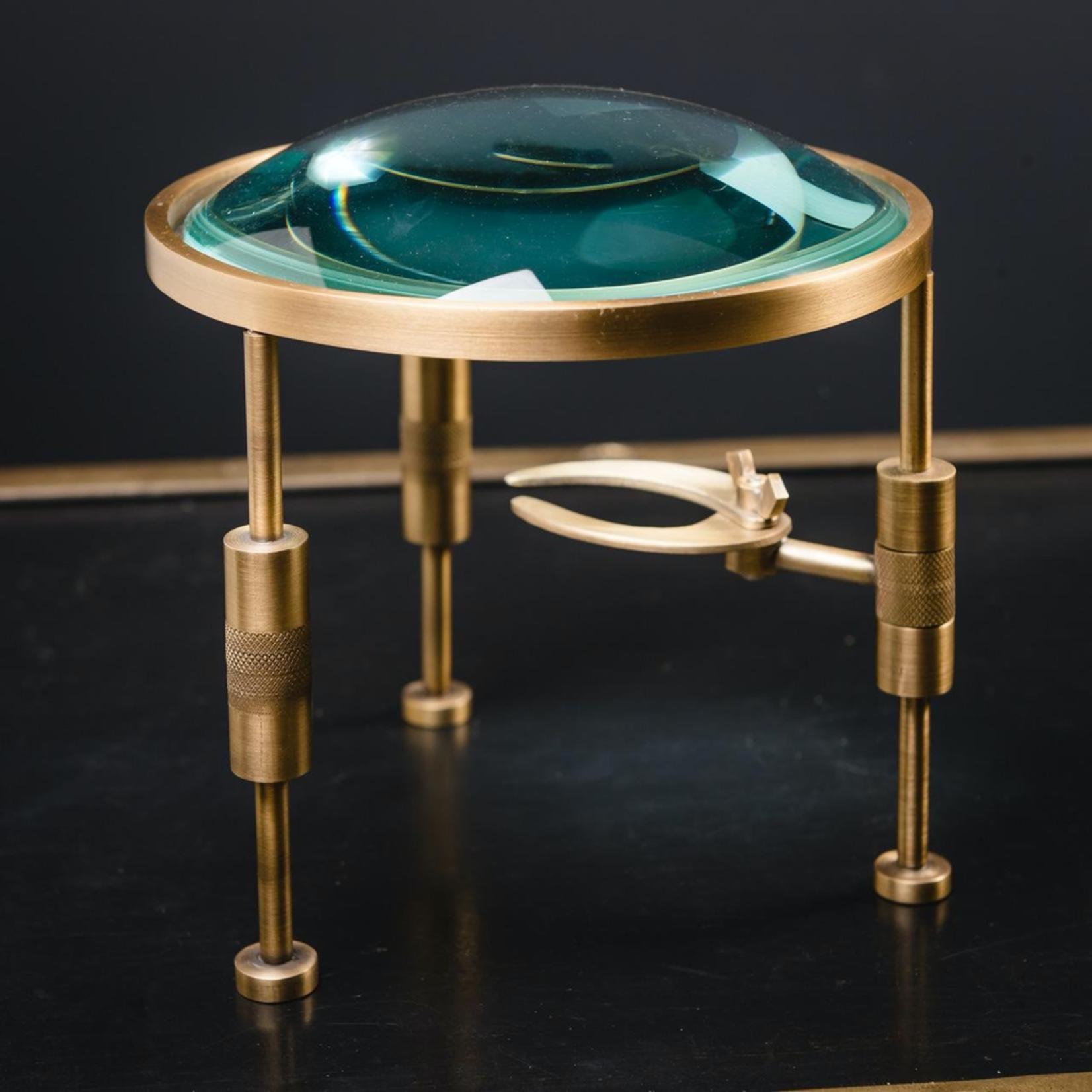 OBJET DE CURIOSITE BUMPY MAGNIFYING GLASS WITH PINCER ON BRASS FEET