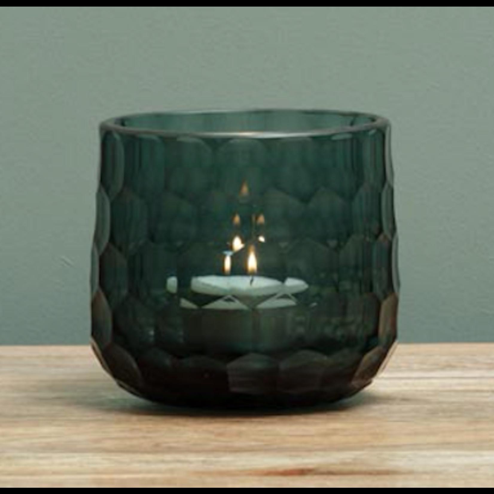 CHEHOMA BLUE THICK GLASS CANDLEHOLDER HONEYCO