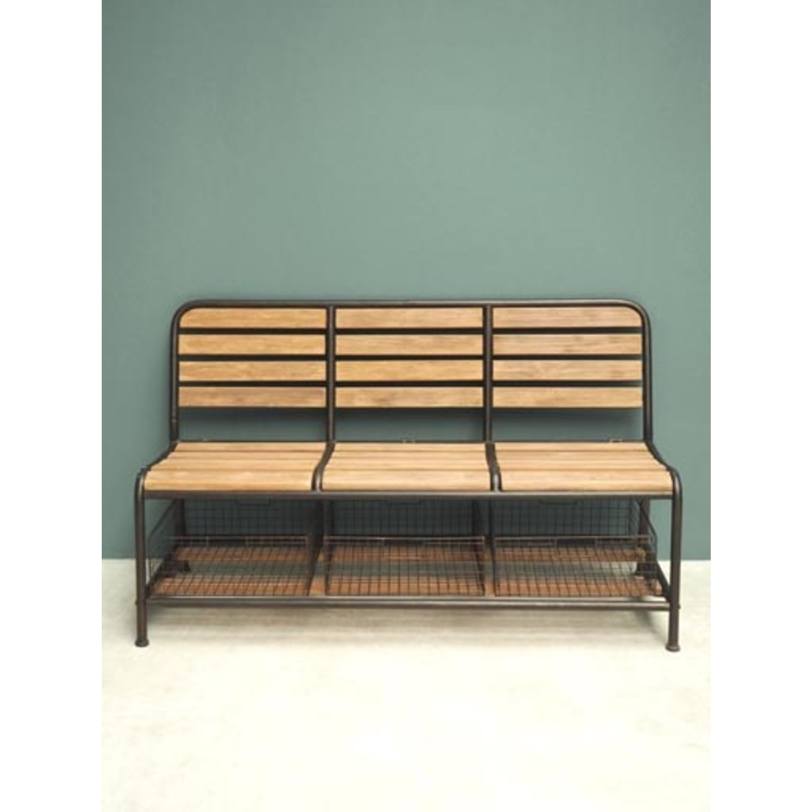 CHEHOMA WOODEN BENCH WITH STORAGE BASKETS