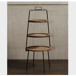 CHEHOMA ROUND DISPLAY WITH 3 WOODEN SHELVES