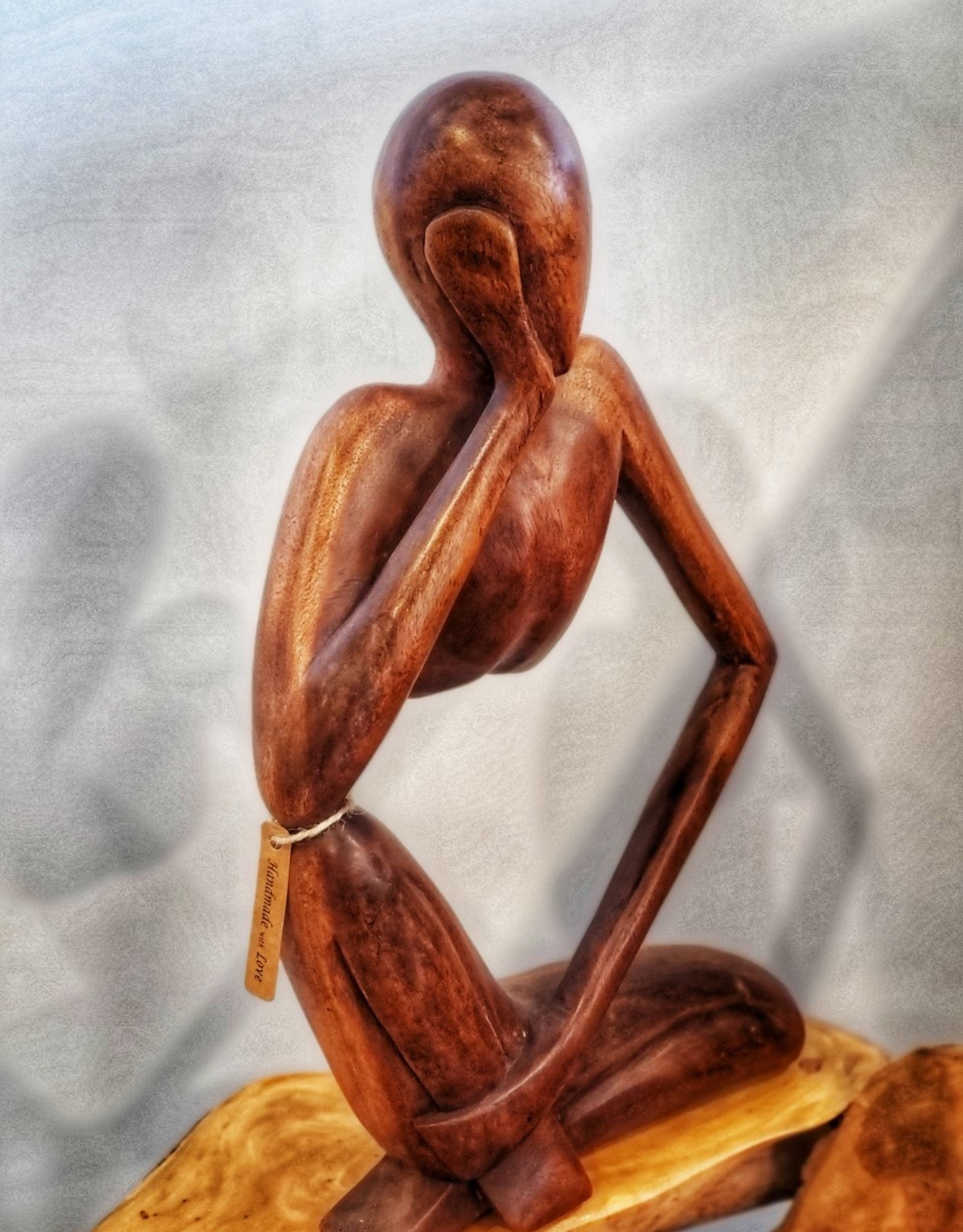 """Handcarved Suar Wood Sculpture """"Thinking of you"""""""