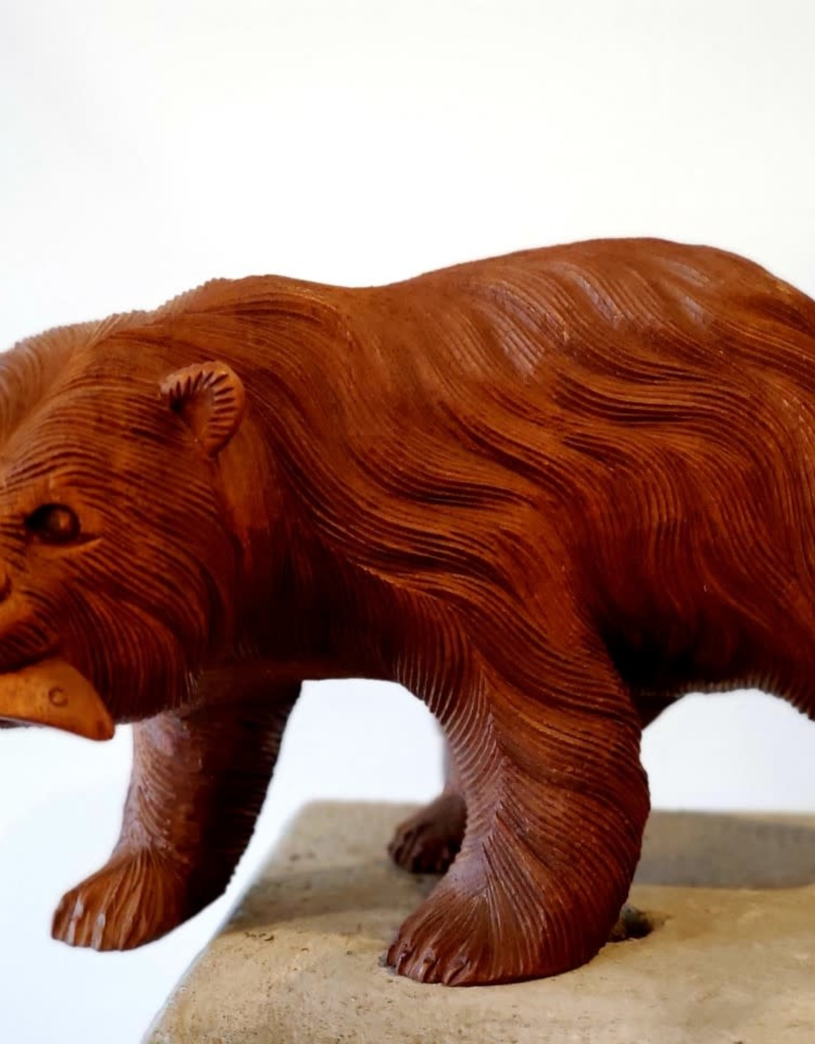 Hand Carved Bear with Fish