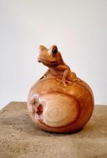 Frog on Ball Sculpture