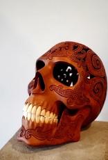 Hand Carved Wooden Skull Art