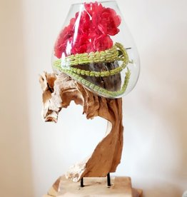 Large Handblown Glass with Iron Stand