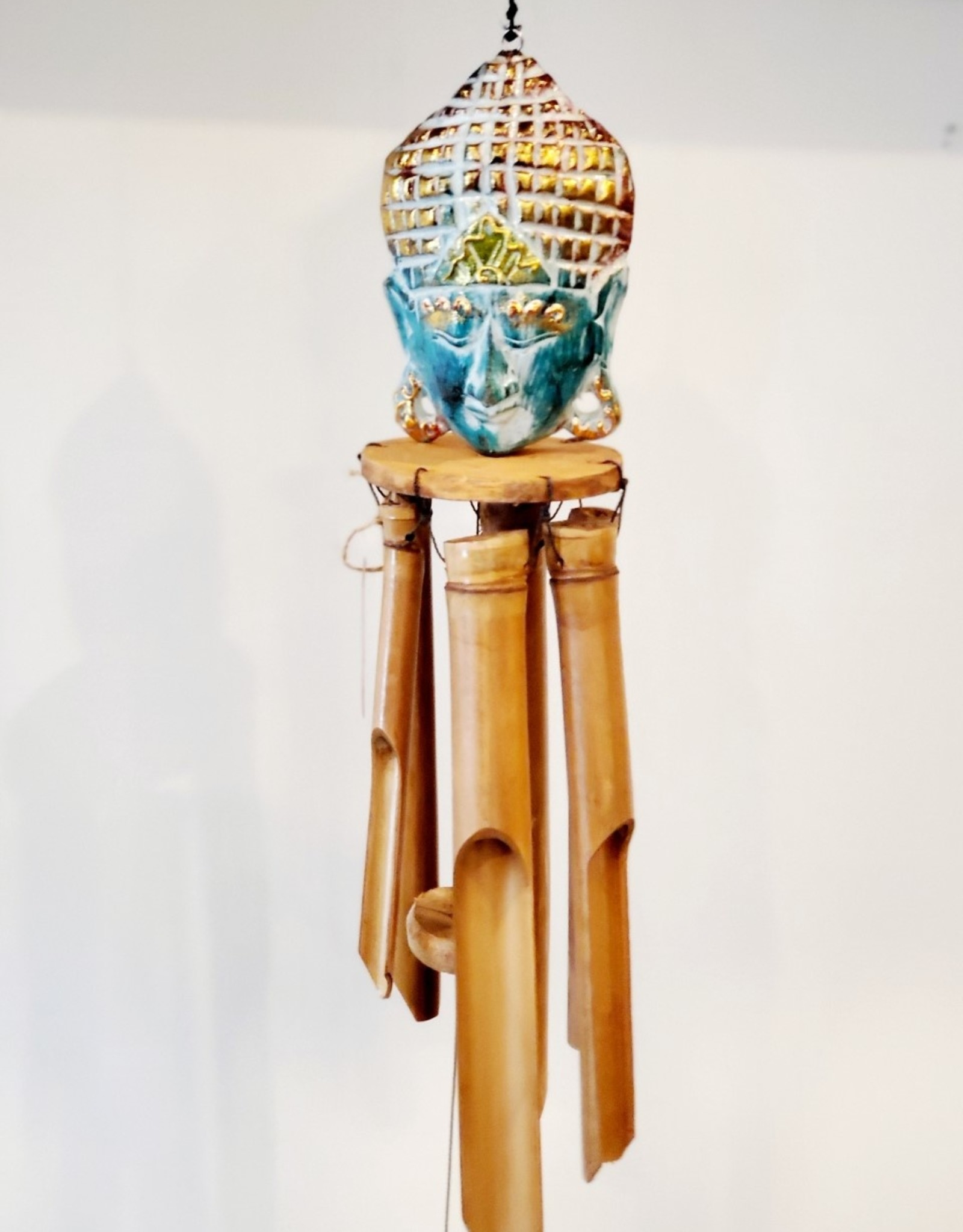 Wooden Buddha Chime Teal