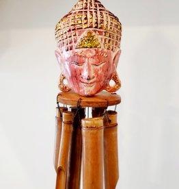 Wooden Buddha Chime Pink