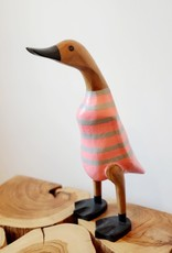 Bamboo Root Small Pink & Grey Striped Duck