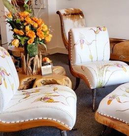 Teak Chair Set & Ottoman