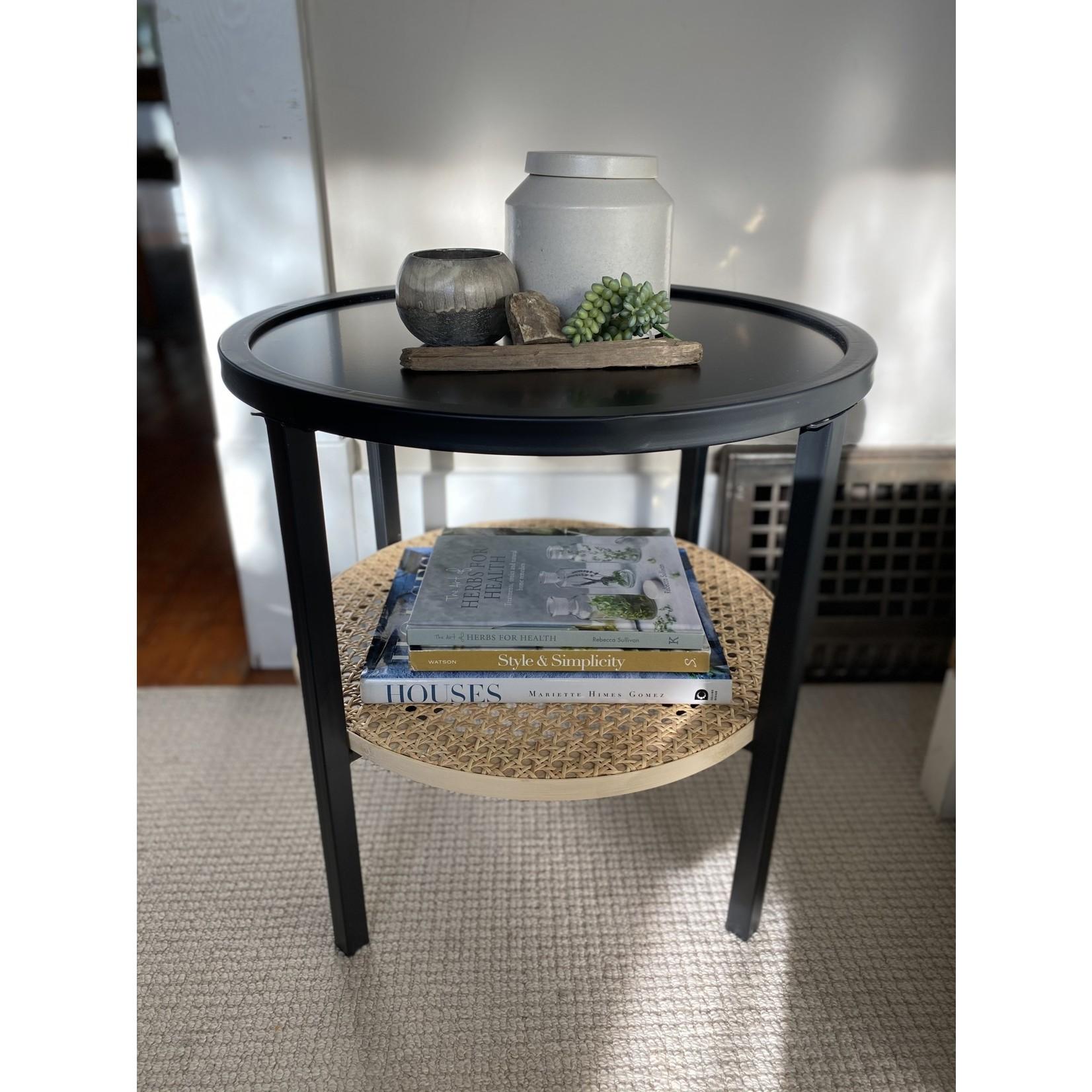 Metal Table with Bamboo Shelf