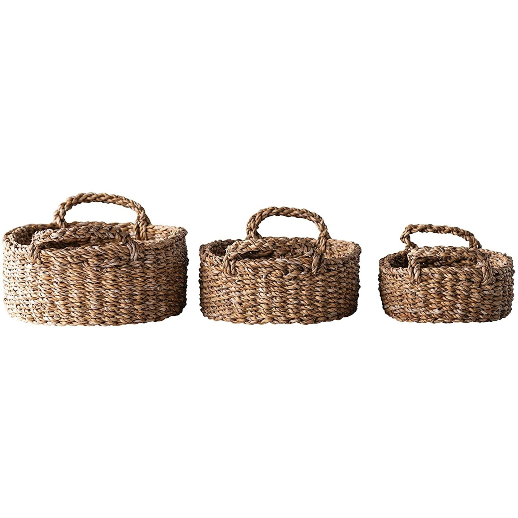 Oval Natural Woven Seagrass Baskets w/ Handles