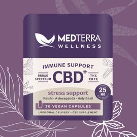 MedterraCBD Medterra Wellness CBD + Stress Support Capsules, 25mg, 30ct