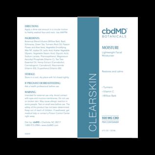 cbdMD cbdMD Botanicals - CBD Clearskin Moisture 4 OZ TUBE - 500 MG