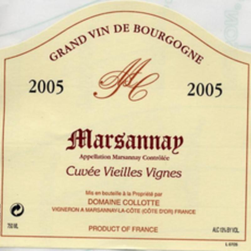 """Domaine Collotte """"Cuvee Vieilles Vignes"""" Marsannay 2018"""