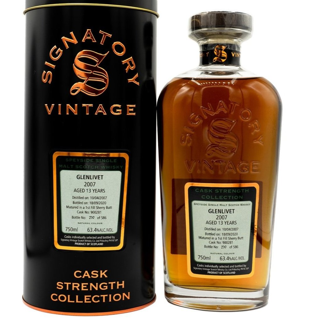 Signatory Un-Chillfiltered Collection 13 Year Glenlivet Sherry 2007 Single Malt Scotch
