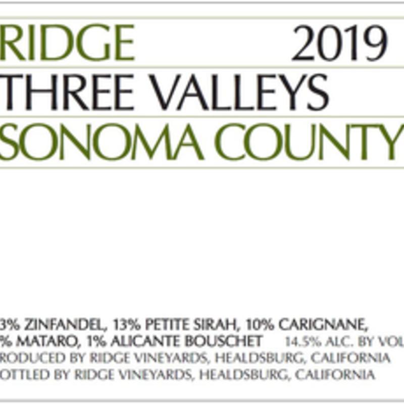 "Ridge ""Three Valleys"" Sonoma County Red 2019"