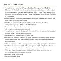 2021 Platinum Players Card