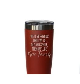 """20 oz. Red Tumbler - """"Old and Senile"""""""