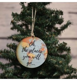 Wooden Oh The Places Map Ornament
