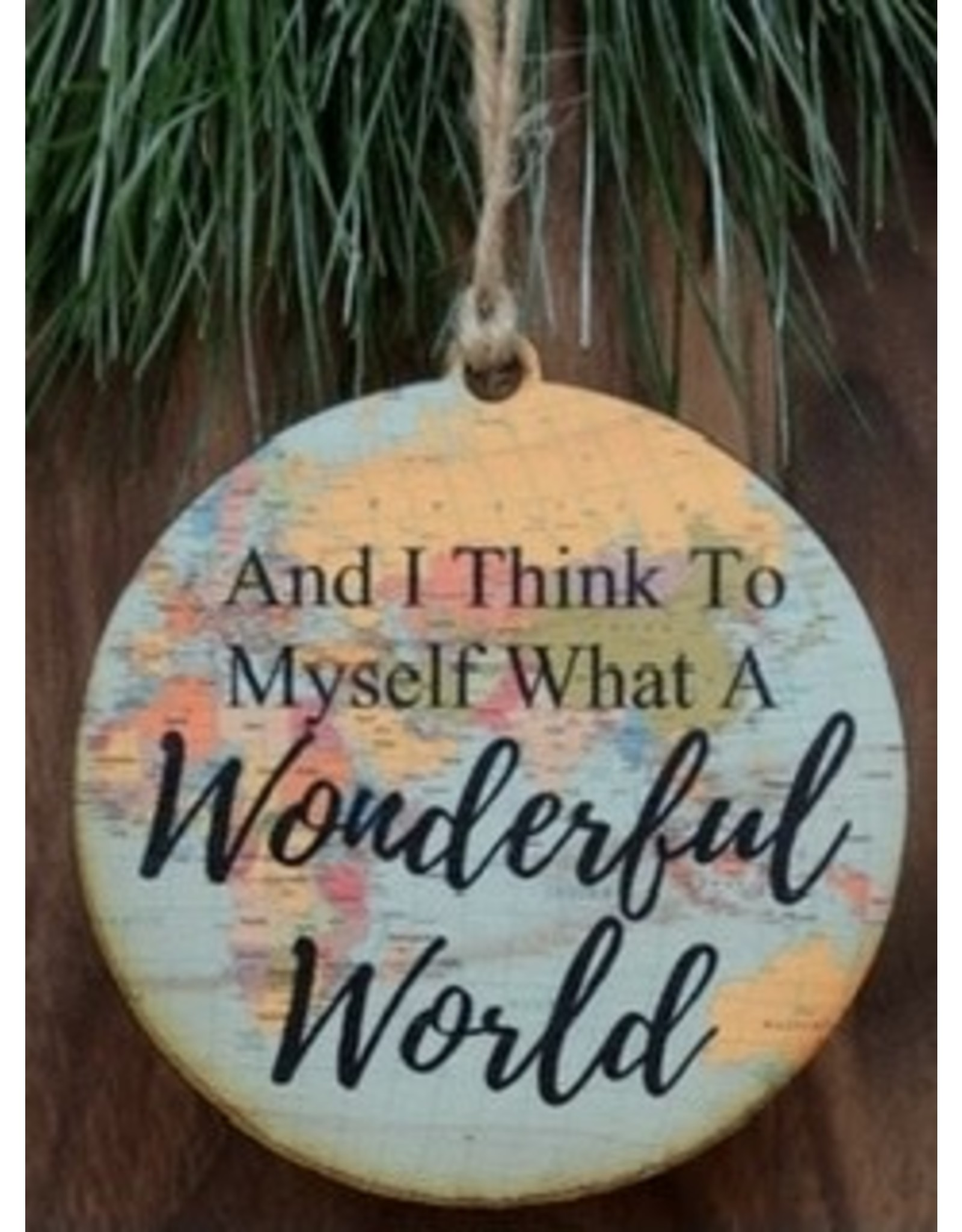 Wooden Wonderful World Map Ornament