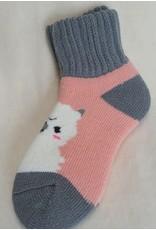 Alpaca Slumber Socks Ankles Pink/Gray