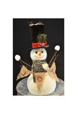 "15.75"" Snowman with Burlap ""Joy"" Sign"