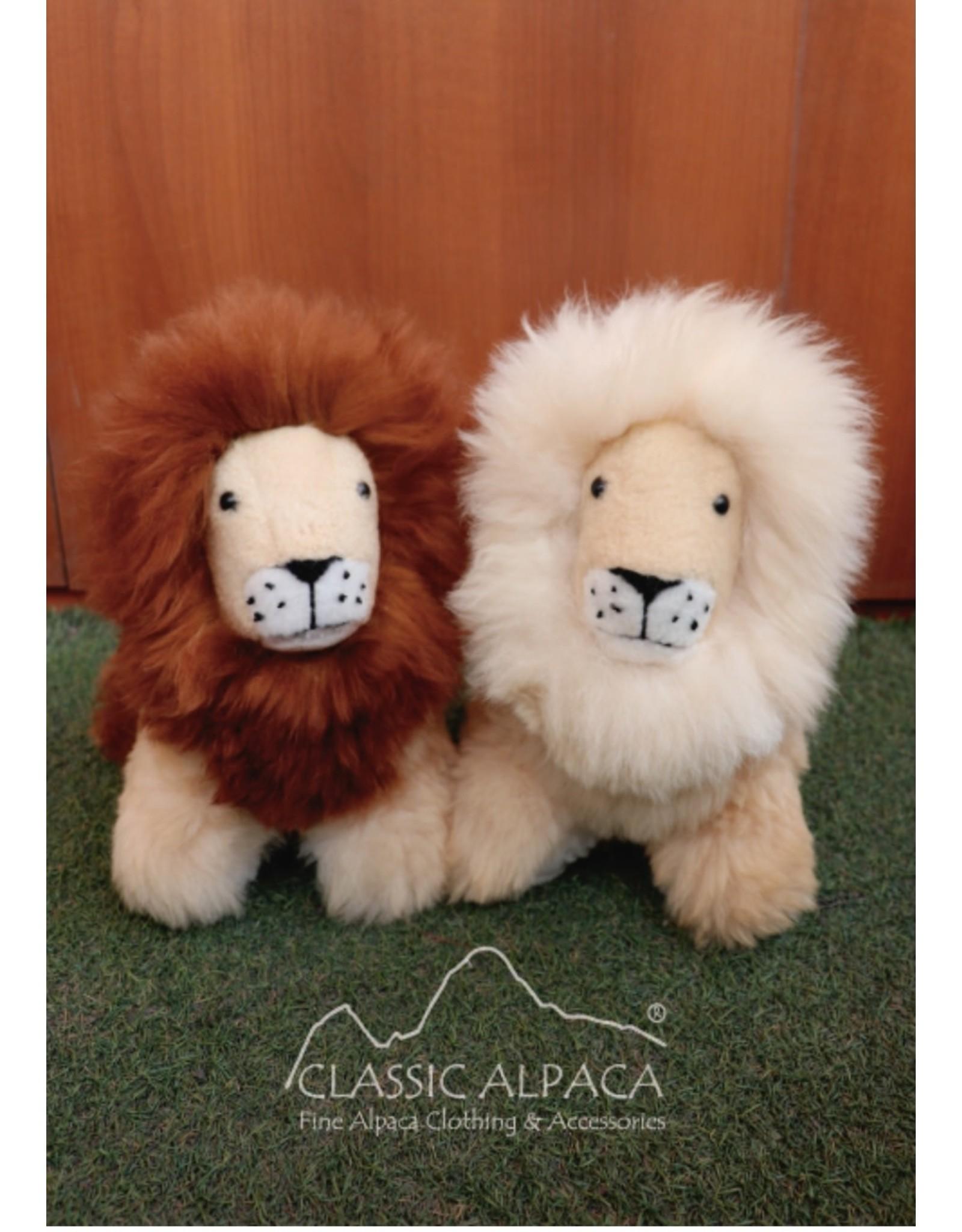"""13"""" Alpaca Fur Pushing Lion Plush"""