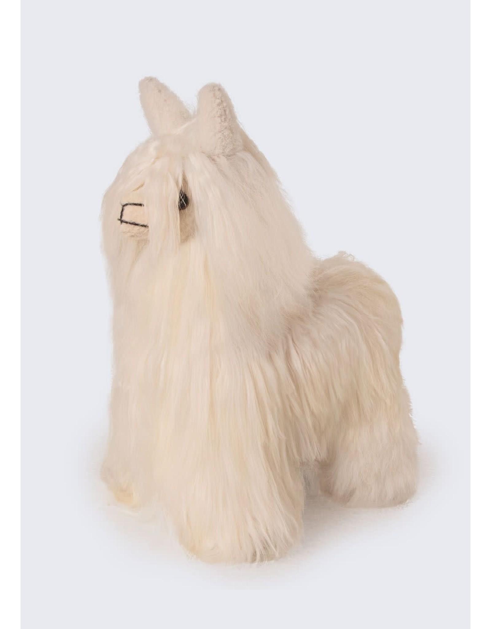 "8"" Baby Alpaca Suri Fur Standing Alpaca Plush"