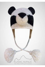 Alpaca Kids - Panda Alpaca Hat wit Ear Flaps Natural/Black