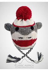 Alpaca Kids - Sock Monkey Alpaca Hat With Ear Flaps Grey/Red/White