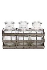 Tin Crate With Three Jars