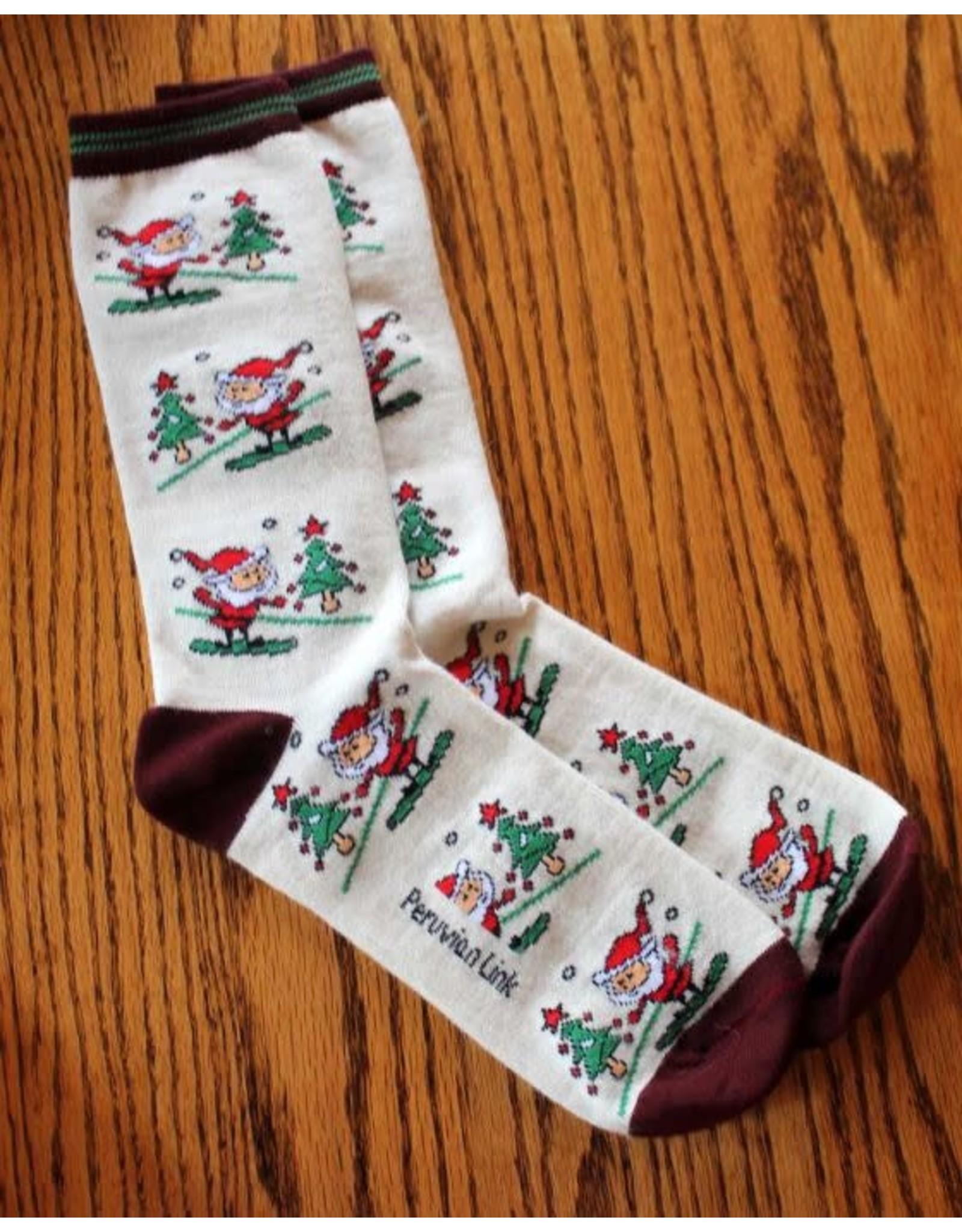 Christmas Print Alpaca Crew Sock