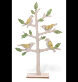 Wooden Springtime Birds in a Tree