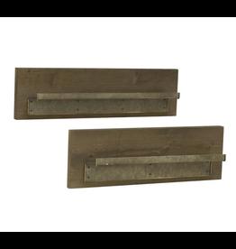 Wood Shelf with Metal Ledge