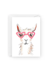 Alpaca with Heart Glasses Greeting Card
