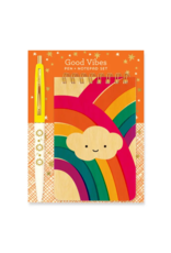 Good Vibes Gift Set: Mini Wooden Notepad and Pen