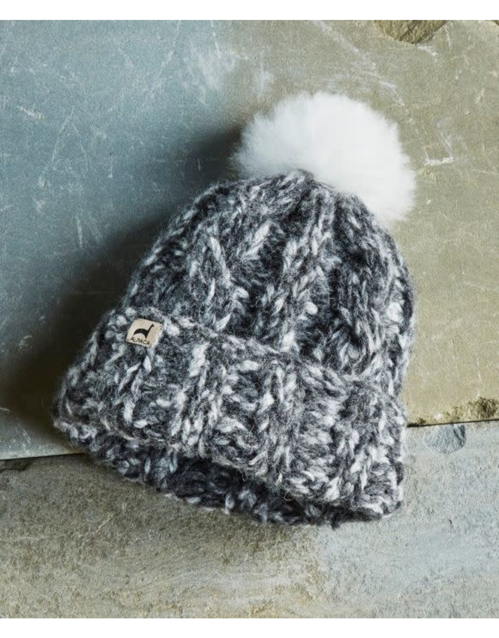 Marshmallow Trenza Alpaca Hat - Gray