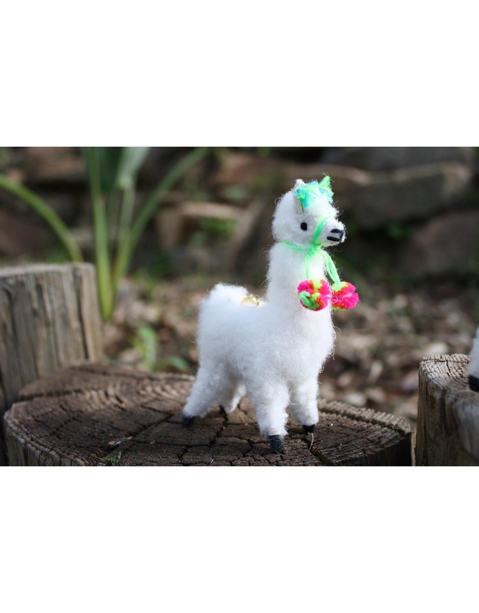 Alpaca Keychain Figurine with Green Trim